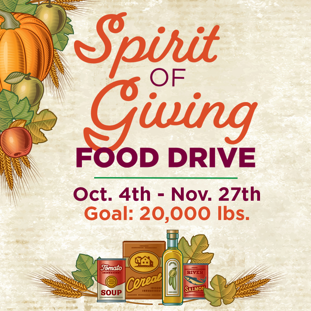 Spirit of Giving Food Drive runs from October 4th through November 27th