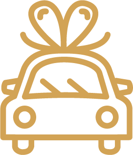 Icon of a car with a bow on it